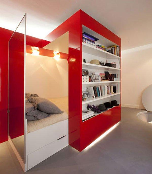 Фотография: Спальня в стиле Хай-тек, Малогабаритная квартира, Квартира, Россия, Дома и квартиры, Нью-Йорк, Париж, Мебель-трансформер – фото на INMYROOM