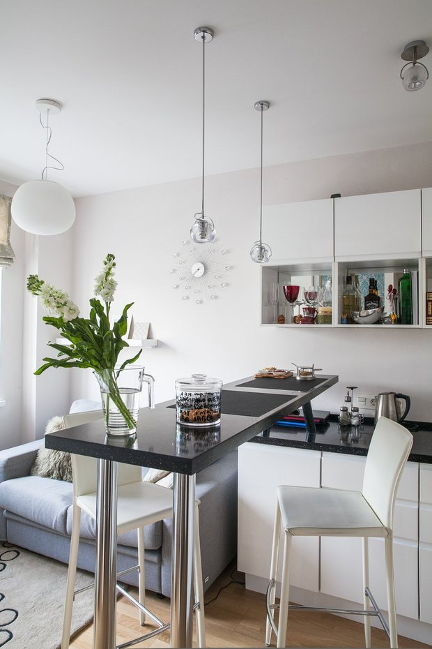 Фотография: Кухня и столовая в стиле Современный, Квартира, Дома и квартиры, Проект недели, Перепланировка – фото на INMYROOM