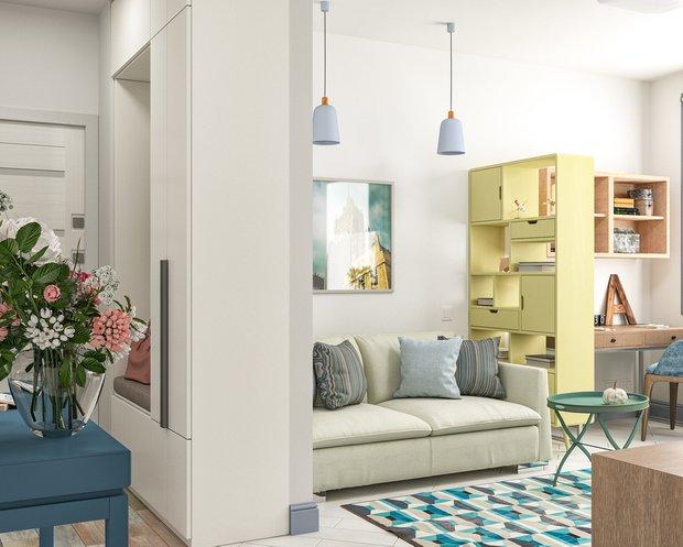Фотография: Гостиная в стиле Скандинавский, Советы, Стеновые панели, хранение вещей, хранение вещей в маленькой квартире, однокомнатная квартира, однушка, 1 комната, Kronospan – фото на INMYROOM
