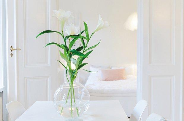 Фотография: Спальня в стиле Скандинавский, Современный, Малогабаритная квартира, Квартира, Цвет в интерьере, Дома и квартиры, Белый – фото на InMyRoom.ru