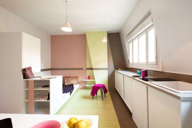 Фотография: Кухня и столовая в стиле Современный, Малогабаритная квартира, Квартира, Франция, Планировки, Дома и квартиры, Париж – фото на INMYROOM