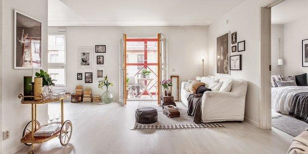 Фотография: Гостиная в стиле Скандинавский, Малогабаритная квартира, Квартира, Дома и квартиры, Ретро – фото на INMYROOM