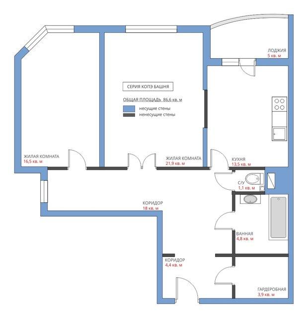 Типовая планировка двушки в доме серии КОПЭ-Башня