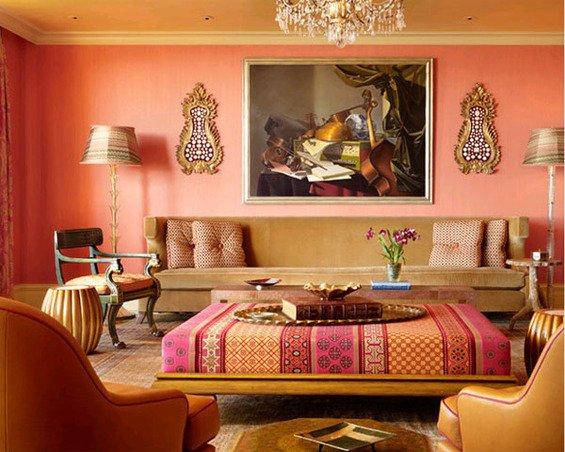 Фотография: Гостиная в стиле Восточный, Декор интерьера, Дизайн интерьера, Мебель и свет, Цвет в интерьере, Стены, Розовый, Фуксия – фото на INMYROOM