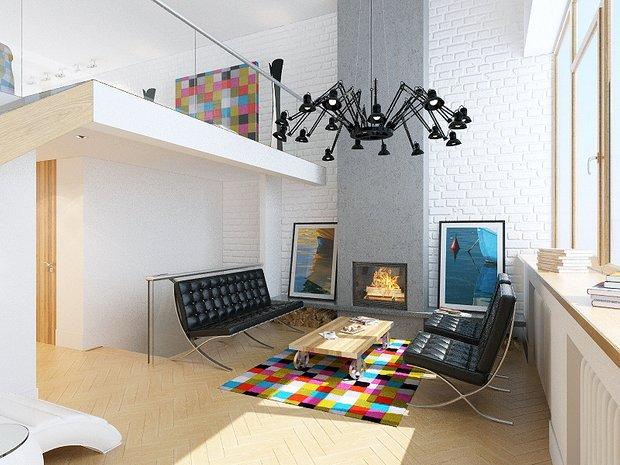 Фотография: Гостиная в стиле Лофт, Современный, Эклектика, Декор интерьера, Квартира, Artemide, Axo Light, Moooi, Дома и квартиры, Проект недели – фото на INMYROOM