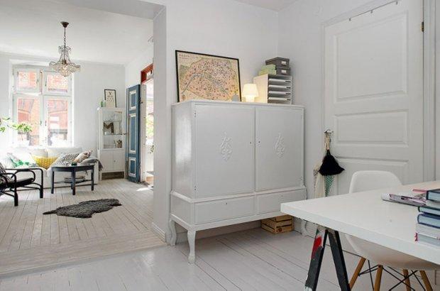 Фотография: Гостиная в стиле Скандинавский, Прованс и Кантри, Малогабаритная квартира, Квартира, Дома и квартиры, Стокгольм – фото на INMYROOM