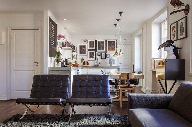 Фотография: Кухня и столовая в стиле Современный, Скандинавский, Малогабаритная квартира, Квартира, Цвет в интерьере, Дома и квартиры, Белый – фото на INMYROOM