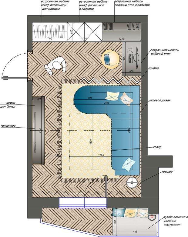 Фотография: Планировки в стиле , Гостиная, Советы, Диван, Гранд, диван в интерьере, как расставить мебель в гостиной, П-44, Мария Лазич – фото на INMYROOM