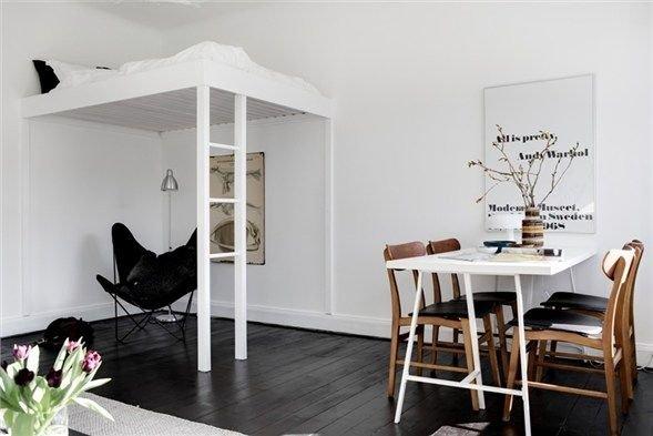 Фотография: Кухня и столовая в стиле Скандинавский, Спальня, Интерьер комнат – фото на INMYROOM