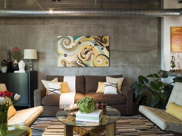 Фотография: Гостиная в стиле Лофт, Интерьер комнат, Картины, Зеркало – фото на INMYROOM