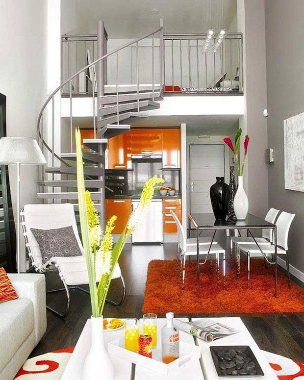 Фотография: Гостиная в стиле Хай-тек, Малогабаритная квартира, Квартира, Дома и квартиры – фото на INMYROOM