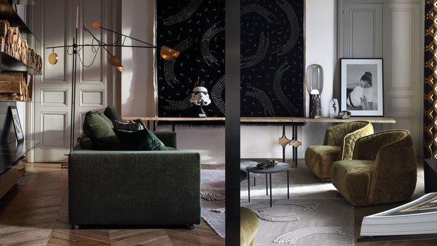 Фотография:  в стиле , Гостиная, Эклектика, Декор интерьера, Франция, Зеленый, Желтый, Коричневый, Лион, Клод Картье – фото на InMyRoom.ru