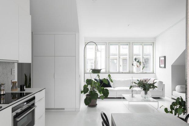 Фотография: Кухня и столовая в стиле Скандинавский, Современный, Декор интерьера, Квартира, Белый, Зеленый, Бежевый, 40-60 метров – фото на INMYROOM