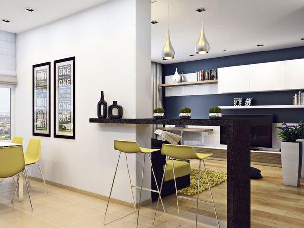 Фотография: Прихожая в стиле Прованс и Кантри, Кухня и столовая, Гостиная, Декор интерьера, Квартира, Студия, Дом, барная стойка на кухне, кухня-гостиная с барной стойкой – фото на INMYROOM