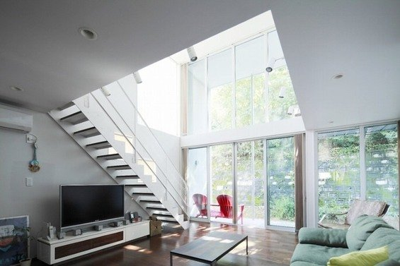 Фотография: Гостиная в стиле Лофт, Современный, Дом, Дома и квартиры, Япония – фото на INMYROOM