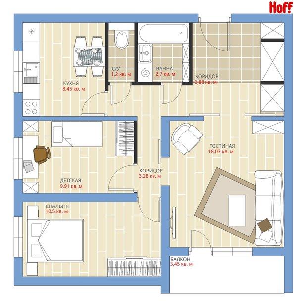 Фотография:  в стиле , Квартира, HOFF, Перепланировка, HOFF, П-43, Анастасия Киселева, Панельный дом – фото на INMYROOM