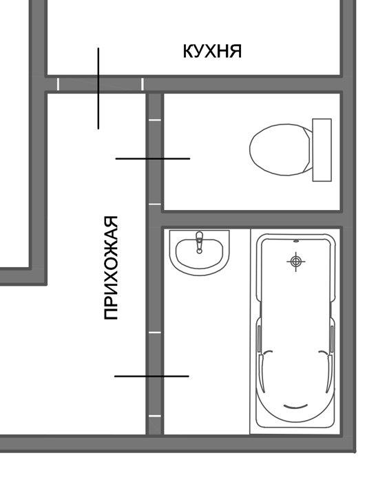 Фотография: Спальня в стиле Прованс и Кантри, Ванная, 8, Перепланировка, планировка санузла, санузел в двухкомнатной квартире дома серии 83, перепланировка маленького санузла, планировка для маленького санузла – фото на INMYROOM