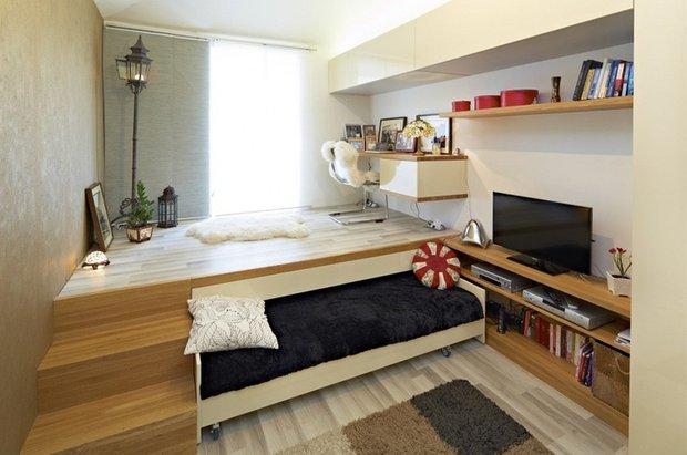 Фотография:  в стиле , Спальня, Планировки, Советы, как зонировать комнату, зонирование однушки, приемы зонирования – фото на INMYROOM