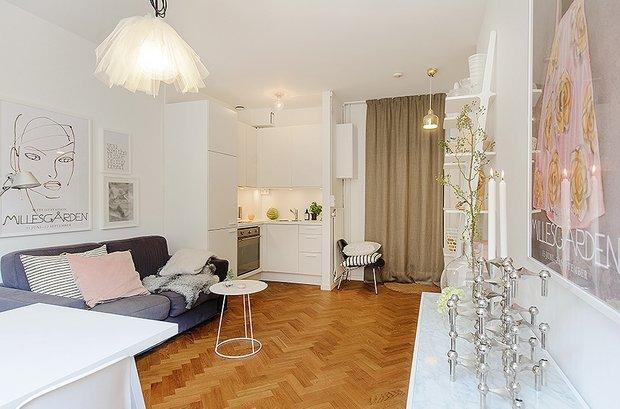 Фотография: Гостиная в стиле Скандинавский, Современный, Малогабаритная квартира, Квартира, Швеция, Дома и квартиры – фото на INMYROOM