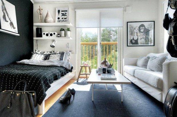 Фотография: Спальня в стиле Современный, Гостиная, Интерьер комнат – фото на INMYROOM