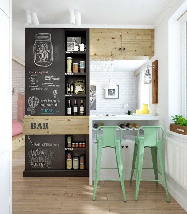 Фотография: Кухня и столовая в стиле Скандинавский, Минимализм, Современный, Малогабаритная квартира, Квартира, Мебель и свет, дизайн маленькой кухни, как обустроить маленькую кухню, идеи для маленькой кухни, kuhnya-8-kv-metrov – фото на INMYROOM