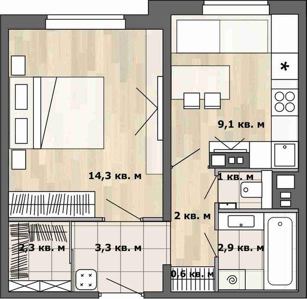 Фотография:  в стиле , Малогабаритная квартира, Перепланировка, перепланировка однушки, Анастасия Киселева, планировка одномнатной квартиры в доме серии П-3М, П-3М – фото на INMYROOM