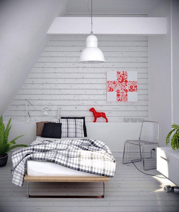 Фотография: Спальня в стиле Скандинавский, Эклектика, Декор интерьера, Декор дома, Цвет в интерьере, Геометрия в интерьере – фото на INMYROOM