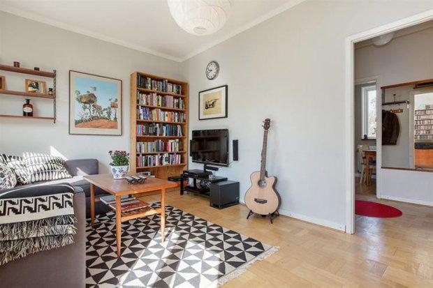 Фотография: Гостиная в стиле Скандинавский, Малогабаритная квартира, Квартира, Дома и квартиры – фото на INMYROOM