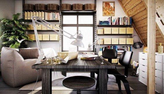 Фотография: Кабинет в стиле Скандинавский, Интерьер комнат, Системы хранения – фото на INMYROOM