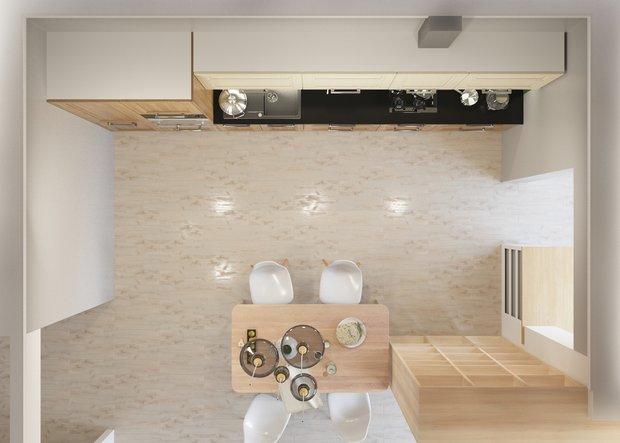 Фотография:  в стиле , Кухня и столовая, Белый, Перепланировка, Бежевый, Серый, Степан Бугаев, Mr.Doors, как сделать планировку кухни, планировка линейной кухни, И-155Н – фото на INMYROOM