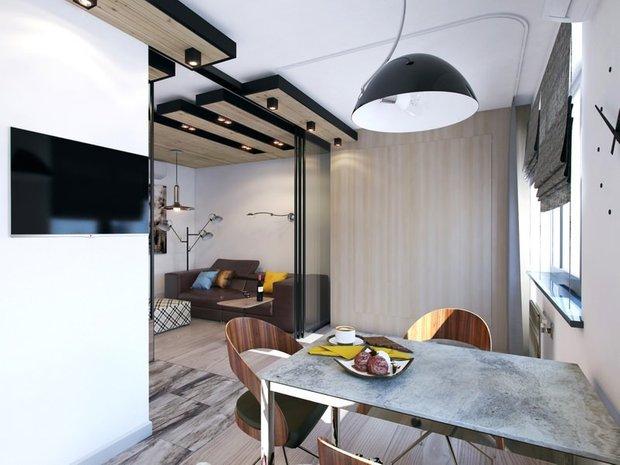 Фотография: Кухня и столовая в стиле Лофт, Современный, Малогабаритная квартира, Квартира, Дома и квартиры – фото на INMYROOM