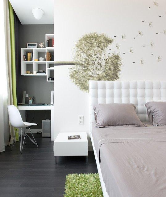 Фотография: Спальня в стиле Современный, Кабинет, Интерьер комнат – фото на INMYROOM