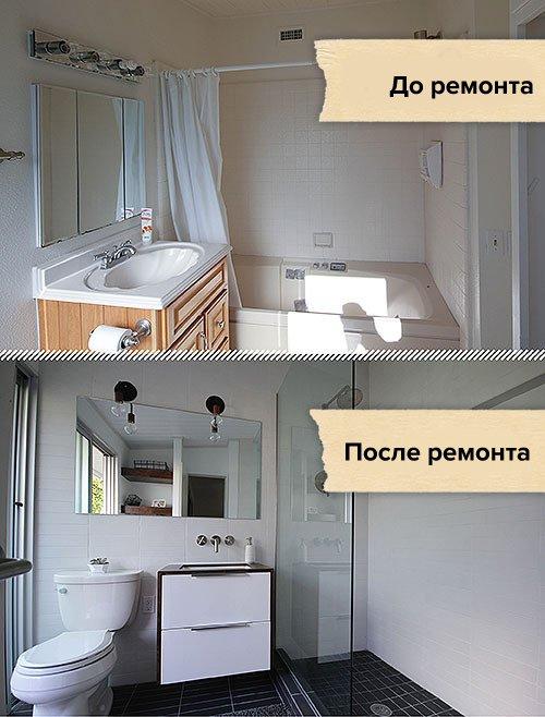 Фотография:  в стиле , Ванная, Современный, Декор, Белый, Переделка, Черный, Ремонт на практике – фото на INMYROOM