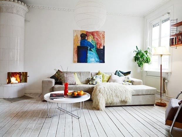 Фотография: Гостиная в стиле Скандинавский, Цвет в интерьере, Стиль жизни, Советы, Белый – фото на INMYROOM
