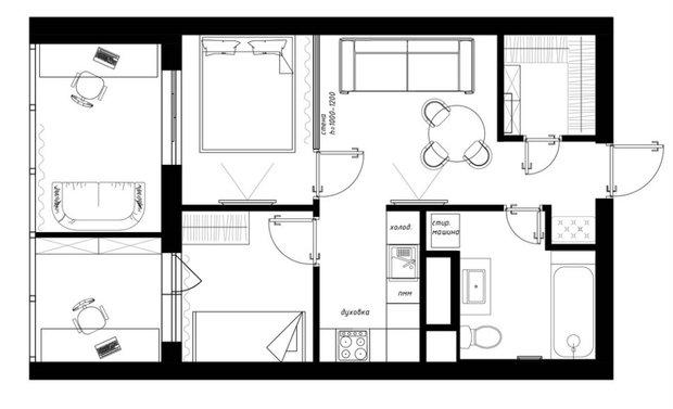 Фотография: Планировки в стиле , Квартира, Перепланировка, Никита Зуб, Монолитный дом, 1 комната, 40-60 метров, планировочная среда – фото на INMYROOM