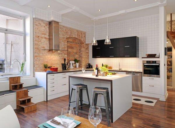 Фотография: Кухня и столовая в стиле Скандинавский, Современный, Интерьер комнат, Кухонный остров – фото на INMYROOM