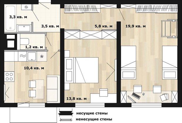 Фотография: Планировки в стиле , Перепланировка, КОПЭ, как обустроить двухкомнатную квартиру, Анастасия Киселева, Максим Джураев, дом серии КОПЭ, перепланировка двушки в панельном доме – фото на INMYROOM