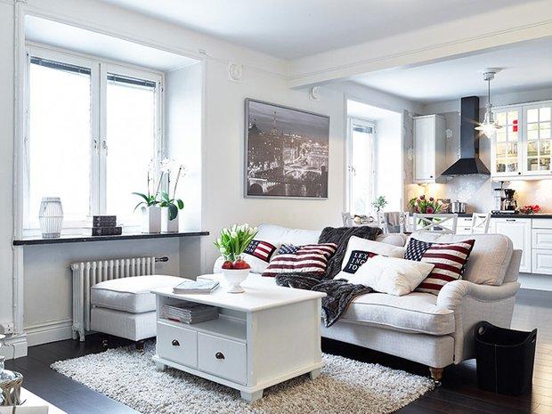 Фотография:  в стиле , Гостиная, Советы, «Уютная квартира», как обустроить гостиную, интерьер гостиной, правила расстановки мебели в гостиной, нормативы по расстановке мебели – фото на INMYROOM