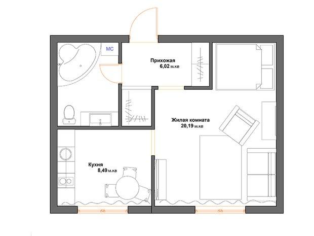 Фотография: Планировки в стиле , Перепланировка, Дарья Дубкова, П-30, обустройство однокомнатной квартиры в П-30, дизайн типовой однушки – фото на INMYROOM