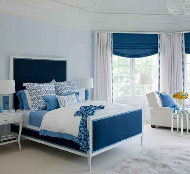 Фотография: Спальня в стиле Прованс и Кантри, Декор интерьера, Дизайн интерьера, Цвет в интерьере, Белый, Синий, Серый – фото на INMYROOM