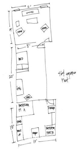 Фотография: Гостиная в стиле Прованс и Кантри, Малогабаритная квартира, Квартира, Цвет в интерьере, Дома и квартиры, Стены, Нью-Йорк, Системы хранения, Квартиры – фото на INMYROOM