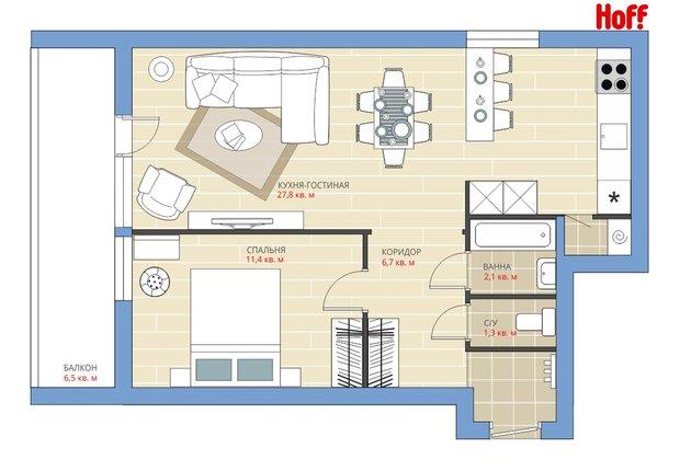 Фотография:  в стиле , Квартира, Планировки, HOFF, Перепланировка, HOFF, Анастасия Киселева, II-68, 2 комнаты, 40-60 метров – фото на INMYROOM