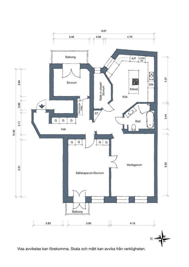 Фотография: Планировки в стиле , Декор интерьера, Квартира, Швеция, 3 комнаты – фото на INMYROOM