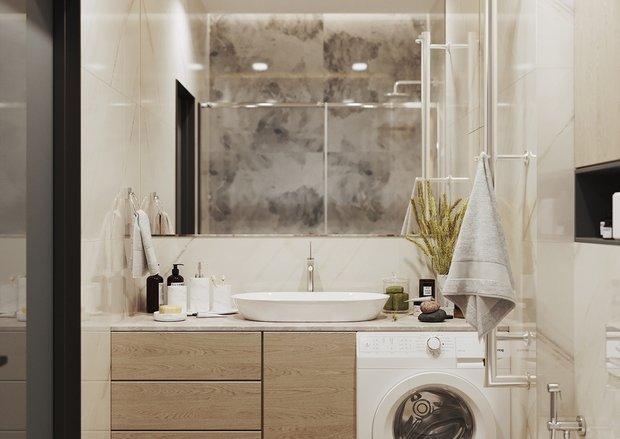 Фотография: Ванная в стиле Современный, Квартира, Перепланировка, 2 комнаты, 40-60 метров, Наталья Мукасьян – фото на INMYROOM