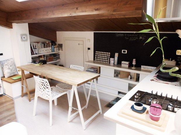 Фотография: Кухня и столовая в стиле Лофт, Малогабаритная квартира, Квартира, Дома и квартиры, Чердак, Мансарда – фото на INMYROOM