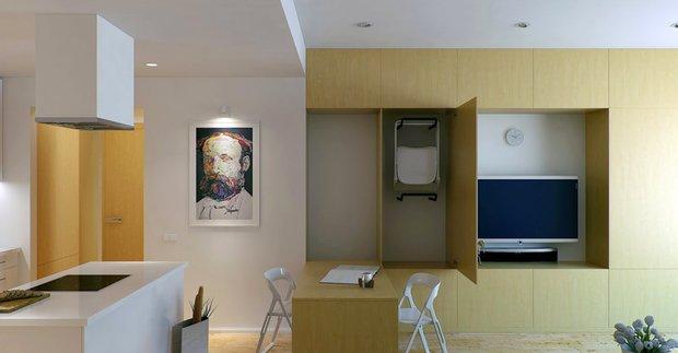 Фотография: Гостиная в стиле Современный, Малогабаритная квартира, Квартира, Россия, Дома и квартиры, Нью-Йорк, Париж, Мебель-трансформер – фото на InMyRoom.ru