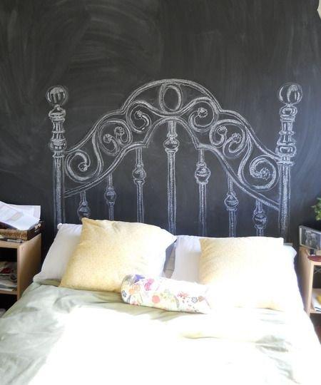 Фотография: Спальня в стиле Скандинавский, Декор интерьера, DIY, Декор, грифельная краска, графитовая краска, краска для школьных досок в интерьере, грифельная краска с эффектом школьной доски – фото на INMYROOM