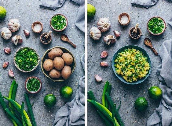 Фотография:  в стиле , Перекусить, Закуска, Вегетарианская, Веганская, Жарить, Закуски, Картофель, Индийская кухня, Кулинарные рецепты, 1 час, Просто, Зеленый лук – фото на INMYROOM