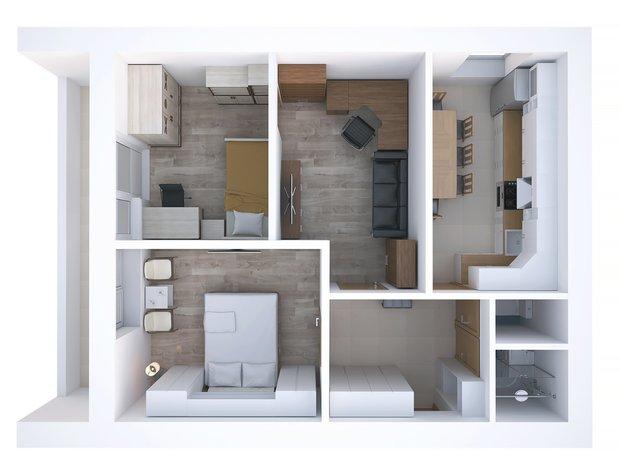 Фотография: Планировки в стиле , Квартира, Дома и квартиры, Перепланировка, II-68-03, Блочный дом, 2 комнаты, 40-60 метров – фото на INMYROOM