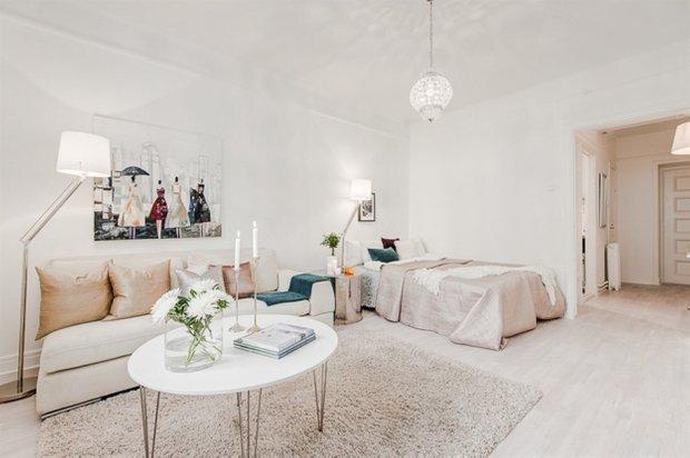 Фотография: Гостиная в стиле Скандинавский, Малогабаритная квартира, Квартира, Дома и квартиры, Стокгольм – фото на InMyRoom.ru